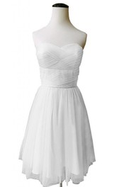 Sweetheart Ruched Bodice Short Layered Chiffon Dress