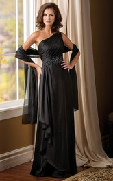One-Shoulder Long Mother Of The Bride Dress With Ruffles And Beadings