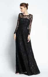 A-Line Floor-length Bateau Scalloped Lace Long Sleeve Prom Dress with Sequins
