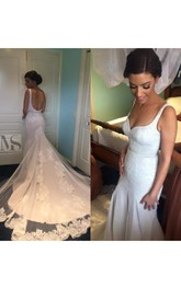 Elegant Mermaid Lace Appliques Wedding Dress Open Back Long Train