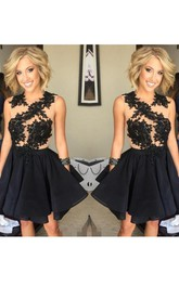 A-line Sleeveless Chiffon Lace Jewel Short Mini Homecoming Dress