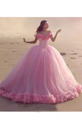 Off-the-shoulder Cap Short Sleeve Cathedral Train Tulle Ball Gown Dress