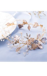 Korean Gold Crystal Pearl Bridal Hair Accessories Headdress