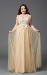 A-line Floor-length Scoop Sleeveless Tulle Appliques Pleats Illusion Dress