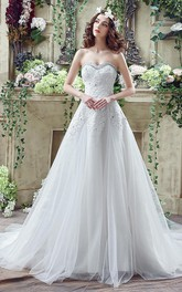 Glamorous Sequined Lace Tulle 2018 Wedding Dress Court Train Lace-up