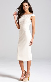 Cap-Sleeved Magnificent Sheath With Lace Bodice
