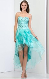 Strapless Beaded Tiered Asymmetry Prom Dress