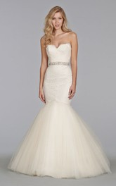 Stunning Lace Fit and Flare Tulle Dress With Beaded Waistband