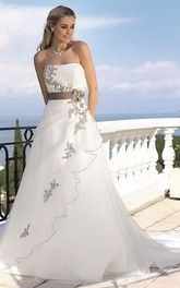 A-Line Strapless Floor-Length Appliqued Tulle Wedding Dress With Side Draping And Flower