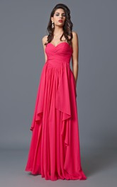 Noble Strapless Long A-line Tiered Chiffon Dress With Asymmetrically Ruching
