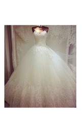 Sweetheart Tulle Ball Gown With Lace Bodice