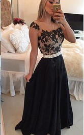 Elegant Square Chiffon Black Prom Dress 2018 Appliques Pearls