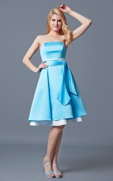 Sleeveless Tiered A-line Satin Tea Length Dress With Sash