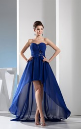 Sweetheart High Low Ruched Gown With Pleats and Sash Bow
