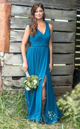 Chiffon V-neck Sleeveless Bridesmaid Dress with Front Slit