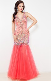 Mermaid Floor-Length Sweep V-Neck Sleeveless Tulle Beading Pleats Backless Dress