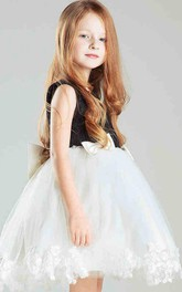 Flower Girl Beading Neck Tulle Short Dress With Lace And Bow