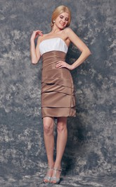 Strapless Ruched Short Sheath Satin Dress