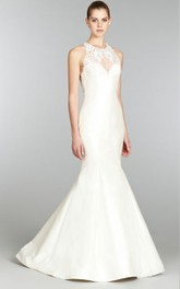 Delicate Illusion Jewel Neck Mermaid Gown With Lace Appliques