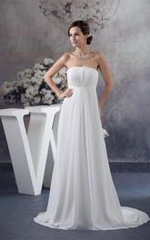 Sleeveless Chiffon Floor-Length Empire Dress With Pleats