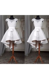Square A-line High-low Short Sleeve Satin Wedding Dress with Zipper Back