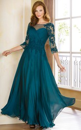 3-4 Sleeved A-Line Gown With Appliques And Illusion Style