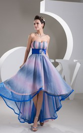 Mute-Color Ruched High-Low Rhinestone and Dress With Pleats