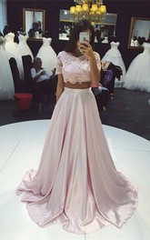 Beautiful Two Pieces Short Sleeve Prom Dresses 2018 Lace A-Line Party Gown