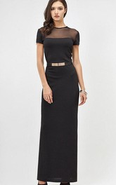 Jewel Neck Short Sleeve Sheath Jersey Ankle Length Dress With Beading Belt