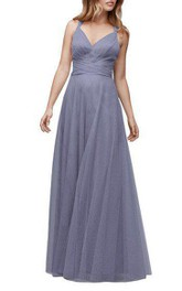 Halter Ruched Tulle Floor-length Bridesmaid Dress