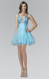 A-Line Short V-Neck Sleeveless Tulle Satin Dress With Ruffles And Crystal Detailing