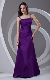 Amazing Spaghetti Strapped Satin Beaded Maxi Bridesmaid Dresses