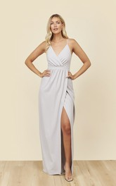 Spaghetti Straps V-neck And Ruched Details With Front Split Bridesmaid Dress