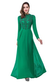 Elegant Green Long Sleeve Beadings Evening Dress 2018 Long Chiffon Party Gowns