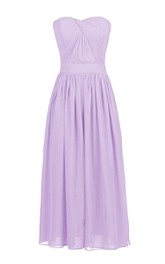 Simple Pleated Chiffon A-line Gown With Zipper Back