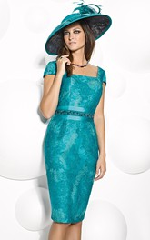 Knee-Length Square Neck Cap Sleeve Appliqued Satin Mother Of The Bride Dress