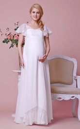 V-neck Lace Bodice Empire Waist Chiffon Long Dress With Cap Sleeves