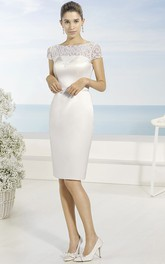Pencil Bateau-Neck Short Short-Sleeve Satin Wedding Dress
