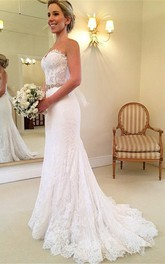 Delicate Sweetheart Sleeveless Lace Mermaid Wedding Dress With Beadings