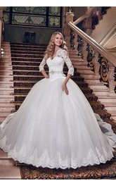 Elegant Tulle Lace Appliques 2016 Wedding Dress Ball Gown 3-4-Length Sleeve