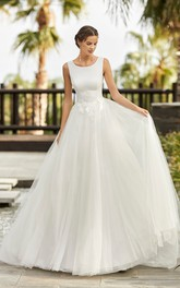 Lace Appliqued Scoop Neckline Sleeveless And Deep V-back Ballgown Tulle Wedding Dress