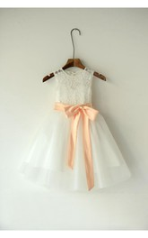 Sleeveless Organza Ball Gown With Back Keyhole and Bows