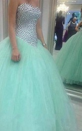 Glamorous Sweetheart Mint Green 2018 Wedding Dresses Crystal Tulle Ball Gown Prom Gowns