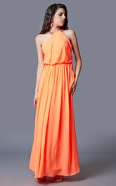 Sleeveless Jewel Neck Pleated Long Chiffon Dress With Cut-out
