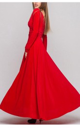 V Neck V Back Long Sleeve A-line Pleated Jersey Long Dress