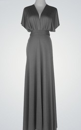 V-Neck Floor-Length Dress With Poet Sleeve