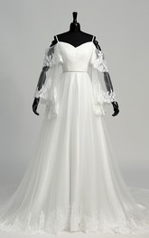 A-line Off-the-shoulder Spaghetti Bell Illusion Long Sleeve Tulle Wedding Dress with Court Train