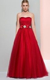 A-Line Strapless Beaded Ruffles Logn Prom Dress
