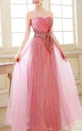 Superb Sweetheart Appliques Full-Length Prom Dress