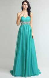A-Line Sweetheart Beading Crystal Sequins Sweep Train Prom Dress